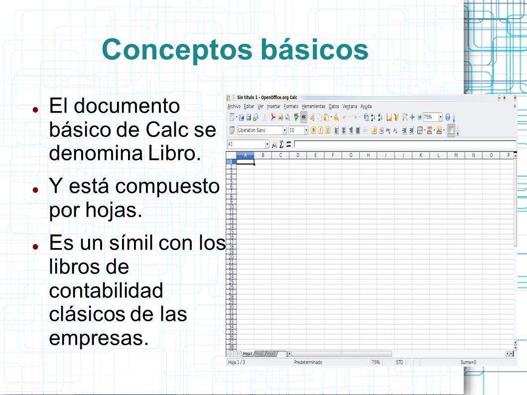 Conceptos básicos El documento básico de Calc se denomina Libro.