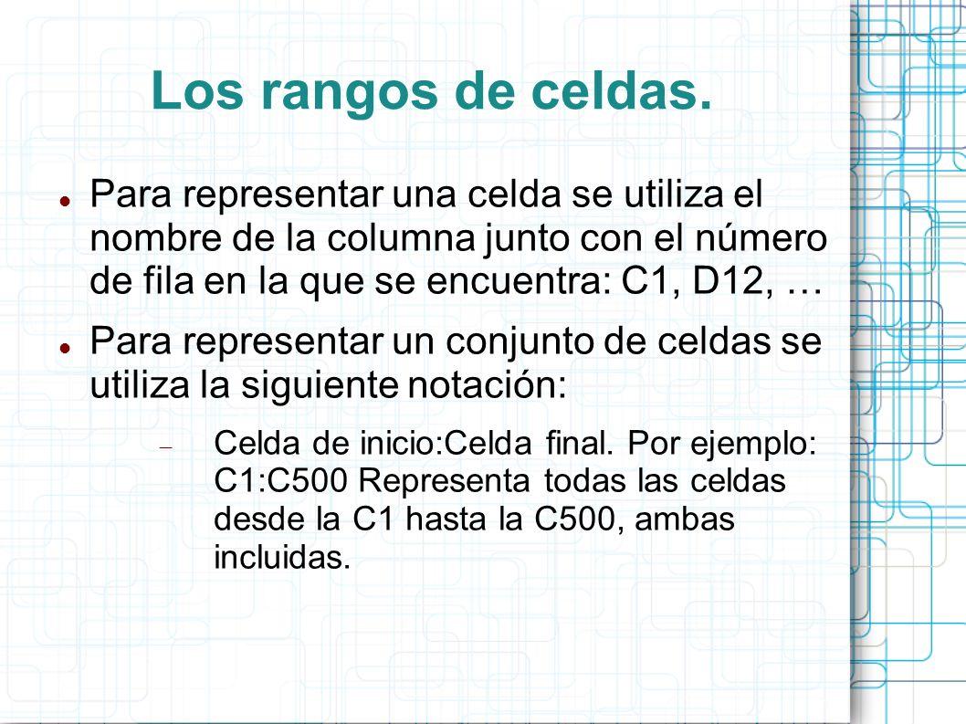 Los rangos de celdas. Para representar una celda se utiliza el nombre de la columna junto con el número de fila en la que se encuentra: C1, D12, …