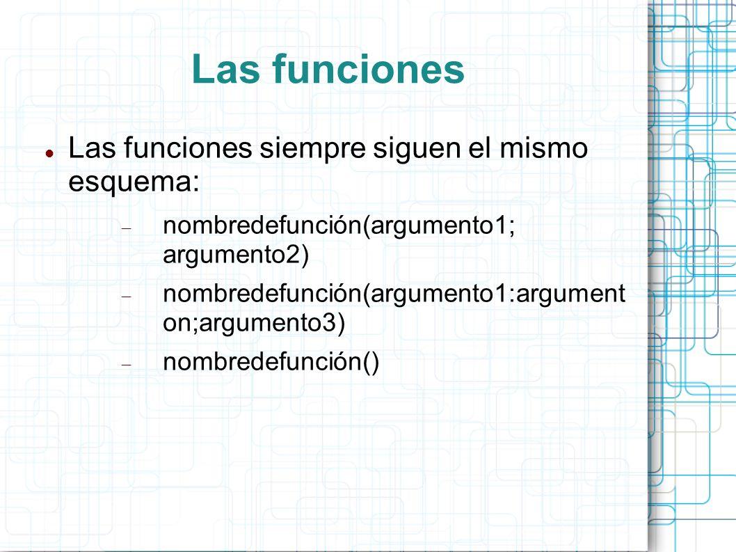 Las funciones Las funciones siempre siguen el mismo esquema: