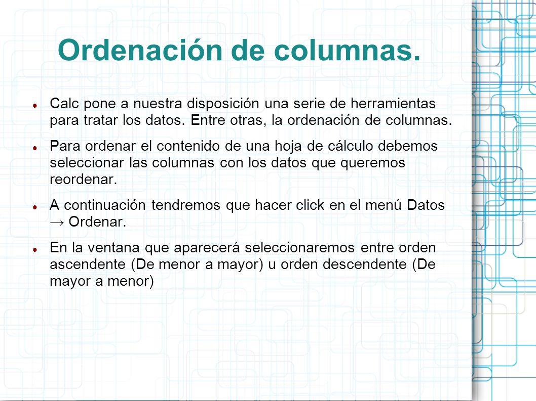Ordenación de columnas.