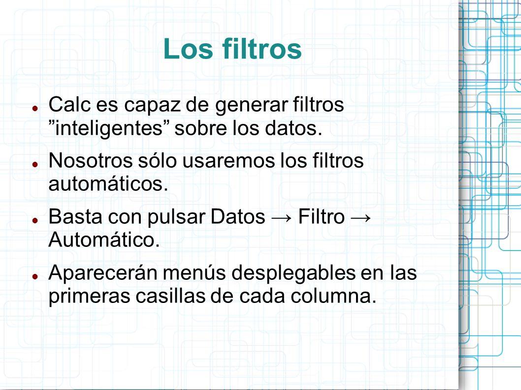 Los filtros Calc es capaz de generar filtros inteligentes sobre los datos. Nosotros sólo usaremos los filtros automáticos.