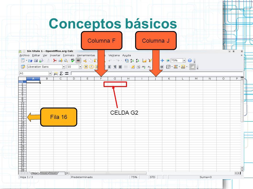 Conceptos básicos Columna F Columna J CELDA G2 Fila 16