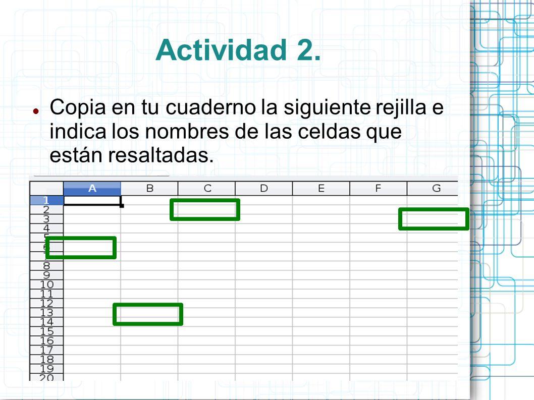 Actividad 2.Copia en tu cuaderno la siguiente rejilla e indica los nombres de las celdas que están resaltadas.