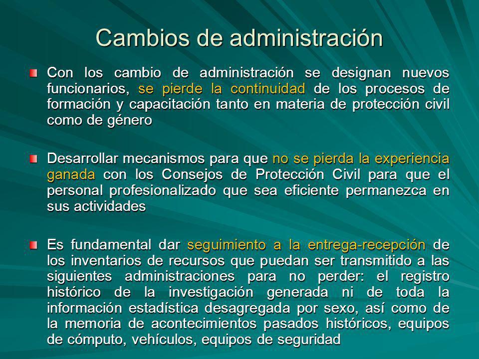Cambios de administración