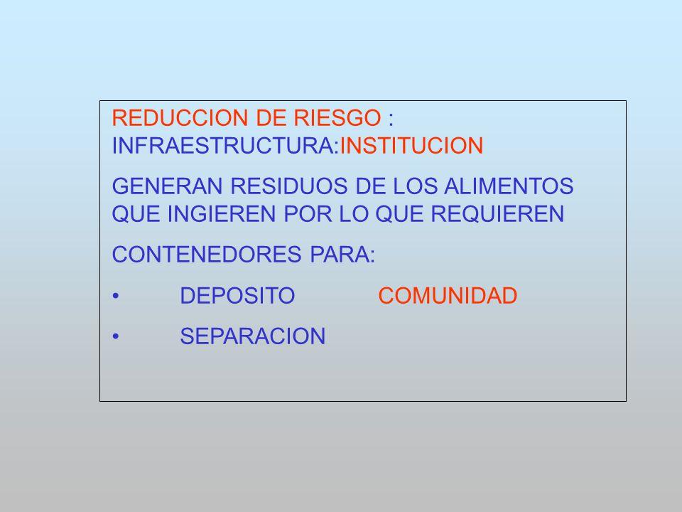REDUCCION DE RIESGO : INFRAESTRUCTURA:INSTITUCION