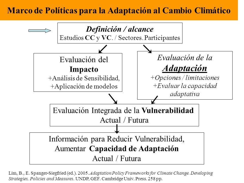 Marco de Políticas para la Adaptación al Cambio Climático