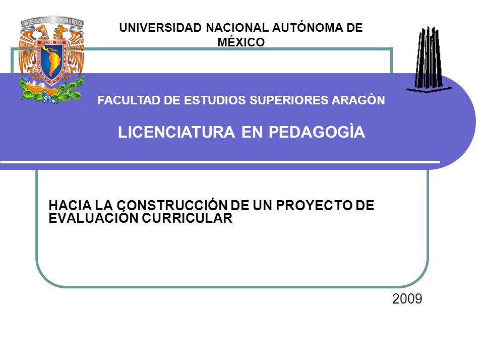 HACIA LA CONSTRUCCIÓN DE UN PROYECTO DE EVALUACIÓN CURRICULAR 2009