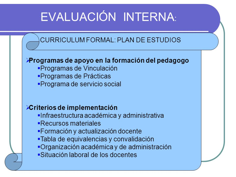 EVALUACIÓN INTERNA: CURRICULUM FORMAL: PLAN DE ESTUDIOS