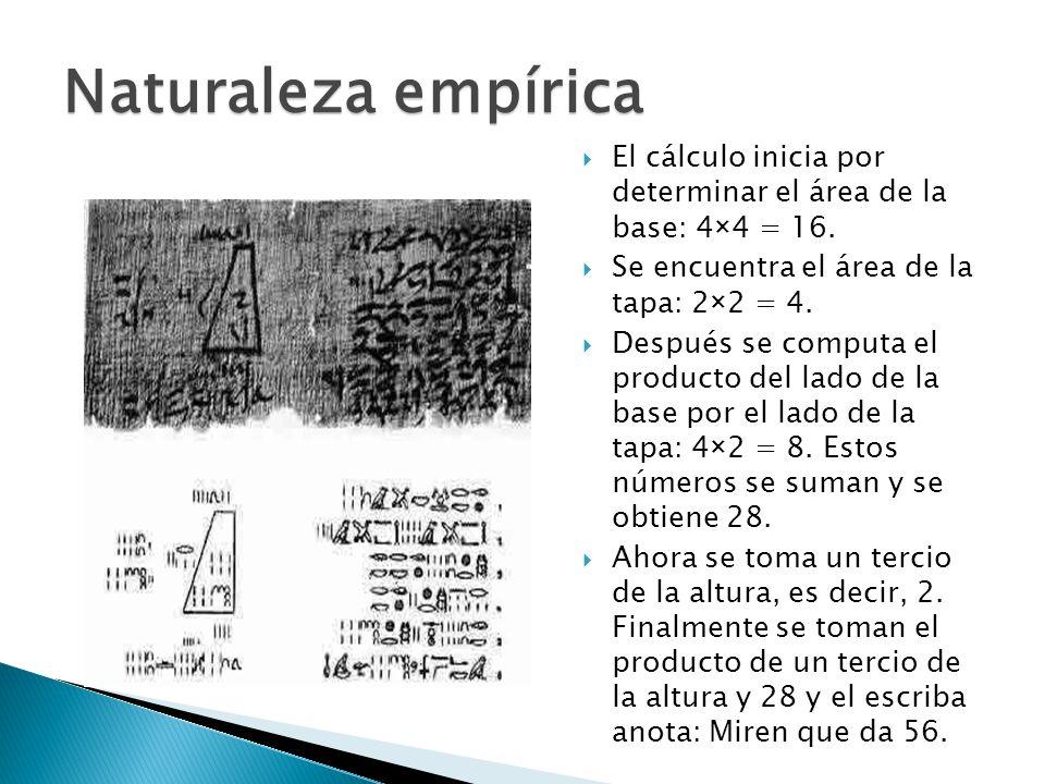 Naturaleza empírica El cálculo inicia por determinar el área de la base: 4×4 = 16. Se encuentra el área de la tapa: 2×2 = 4.