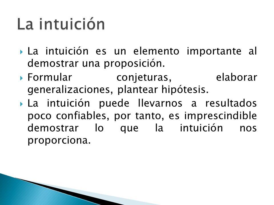 La intuición La intuición es un elemento importante al demostrar una proposición.