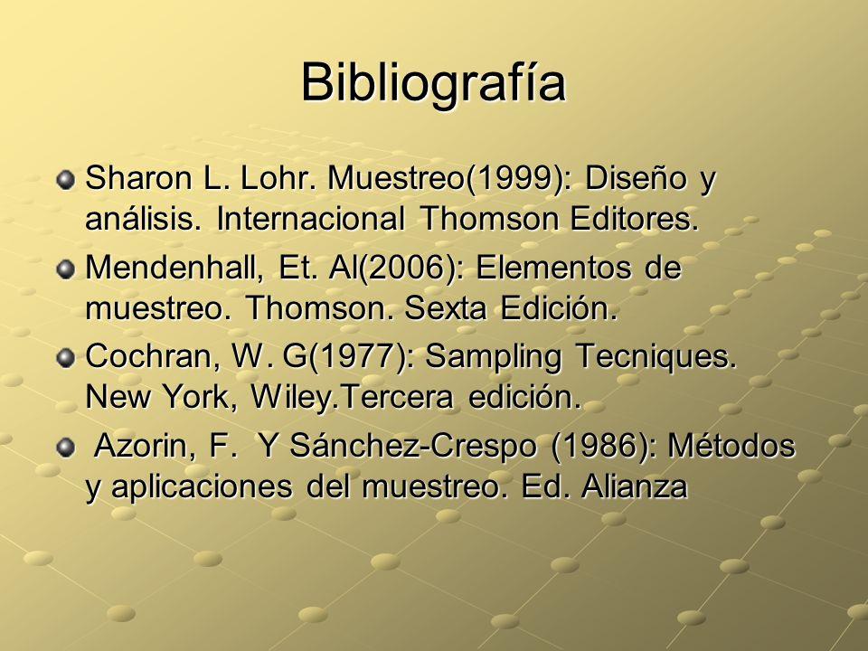 Bibliografía Sharon L. Lohr. Muestreo(1999): Diseño y análisis. Internacional Thomson Editores.
