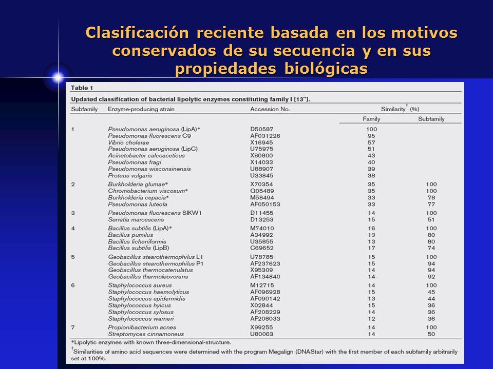 Clasificación reciente basada en los motivos conservados de su secuencia y en sus propiedades biológicas
