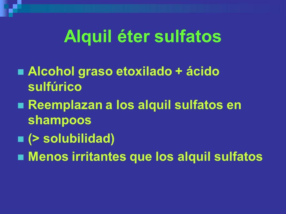 Alquil éter sulfatos Alcohol graso etoxilado + ácido sulfúrico