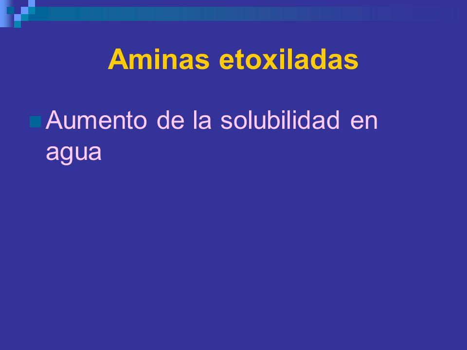 Aminas etoxiladas Aumento de la solubilidad en agua