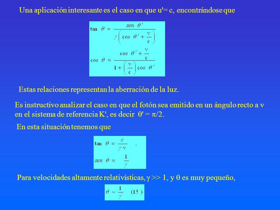 Una aplicación interesante es el caso en que u = c, encontrándose que