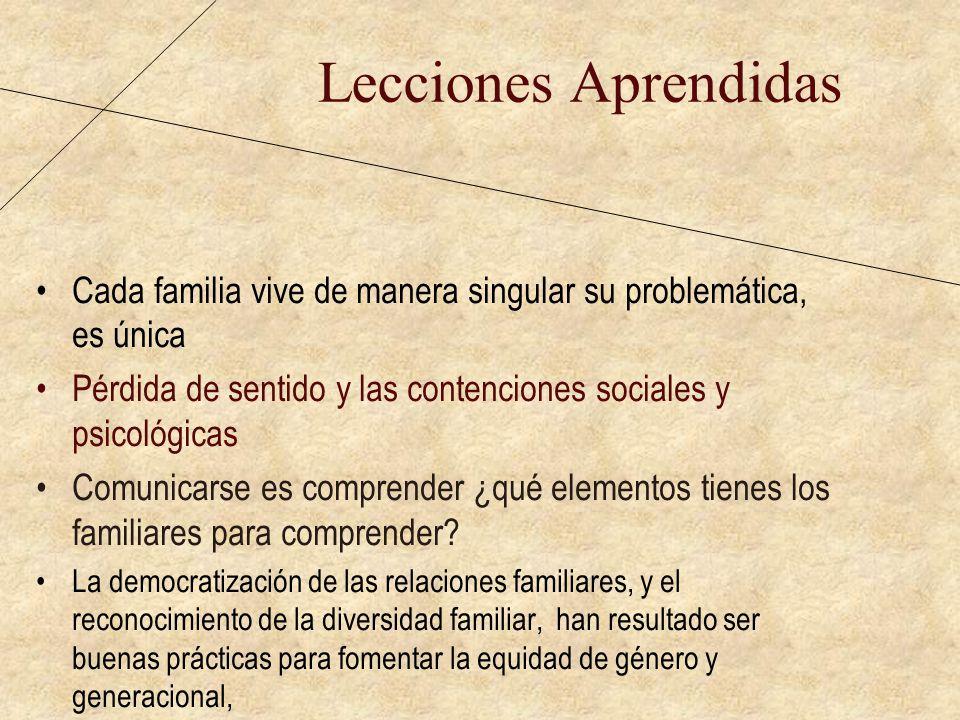 Lecciones Aprendidas Cada familia vive de manera singular su problemática, es única. Pérdida de sentido y las contenciones sociales y psicológicas.