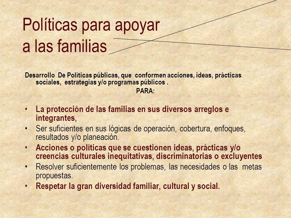 Políticas para apoyar a las familias