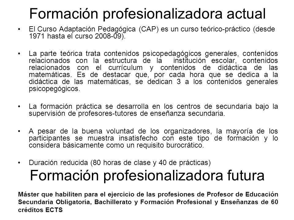 Formación profesionalizadora actual