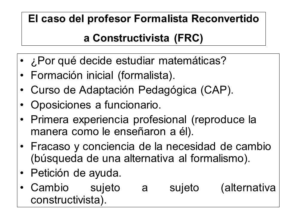 El caso del profesor Formalista Reconvertido a Constructivista (FRC)