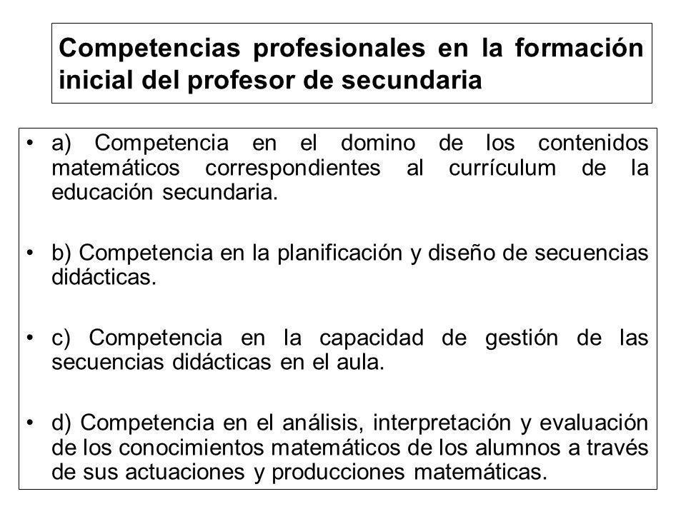 Competencias profesionales en la formación inicial del profesor de secundaria