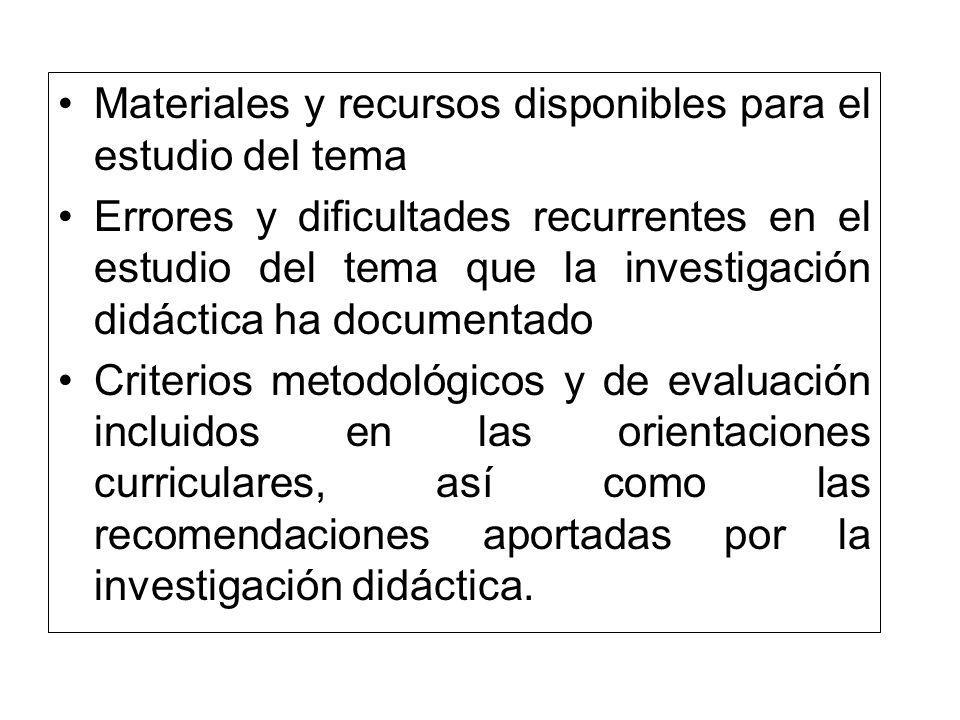 Materiales y recursos disponibles para el estudio del tema