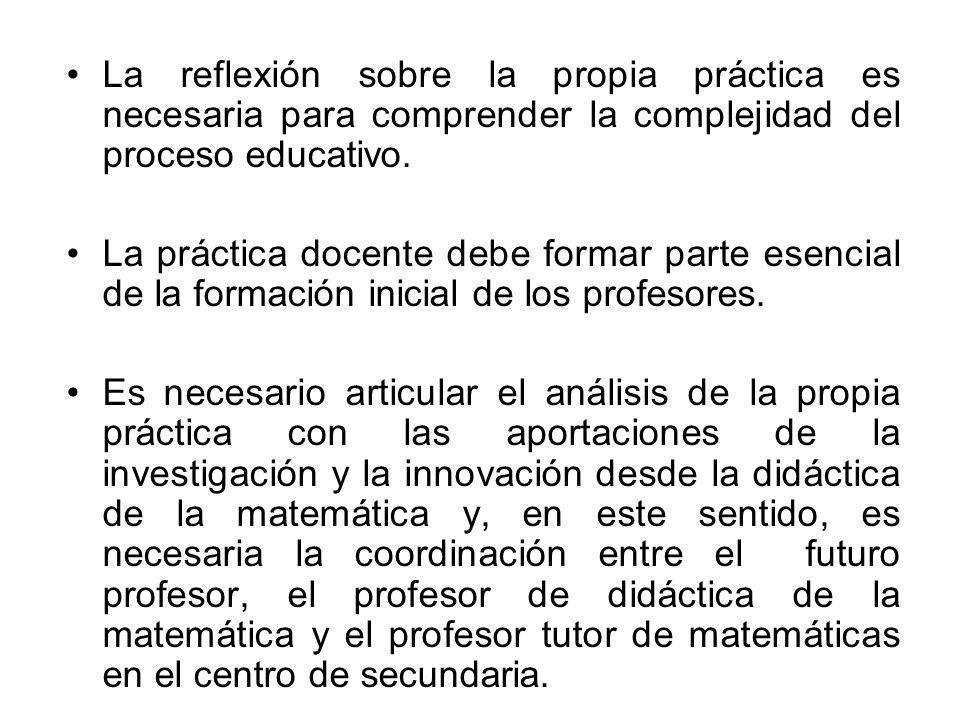 La reflexión sobre la propia práctica es necesaria para comprender la complejidad del proceso educativo.