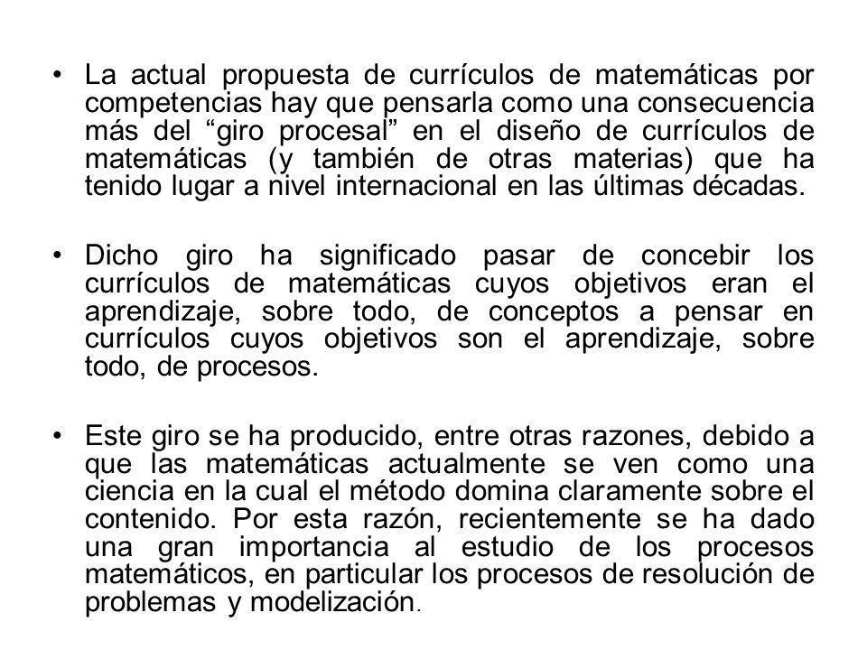 La actual propuesta de currículos de matemáticas por competencias hay que pensarla como una consecuencia más del giro procesal en el diseño de currículos de matemáticas (y también de otras materias) que ha tenido lugar a nivel internacional en las últimas décadas.