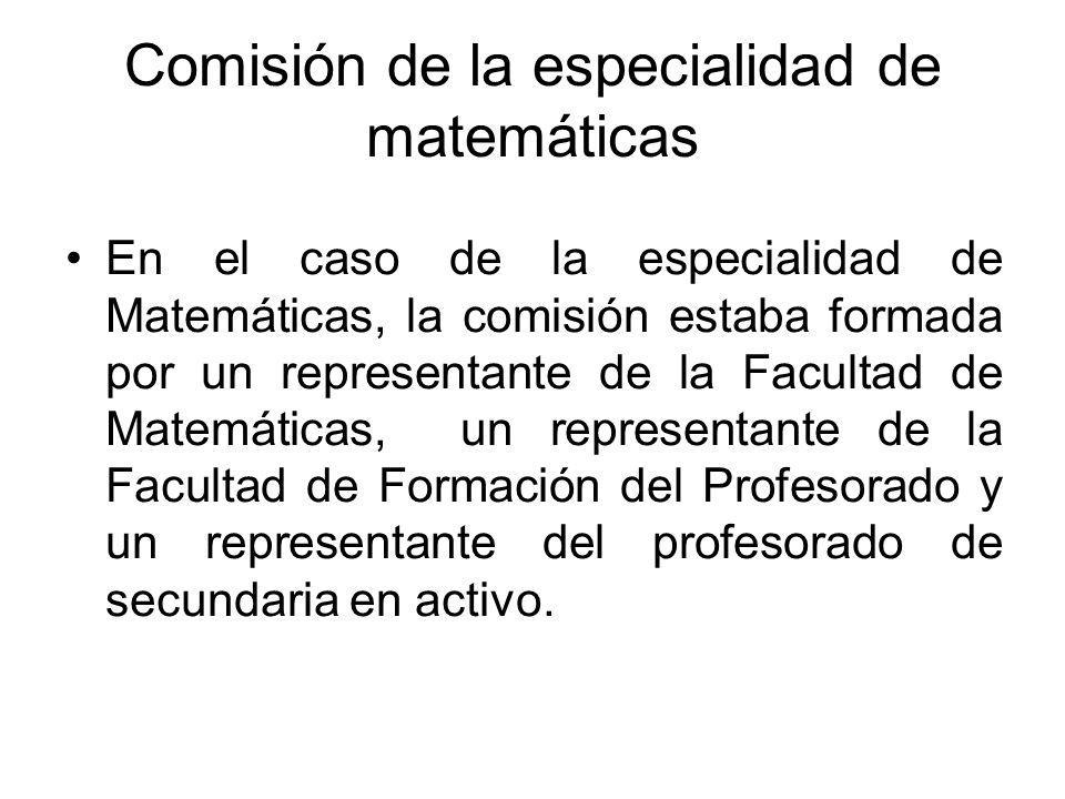 Comisión de la especialidad de matemáticas