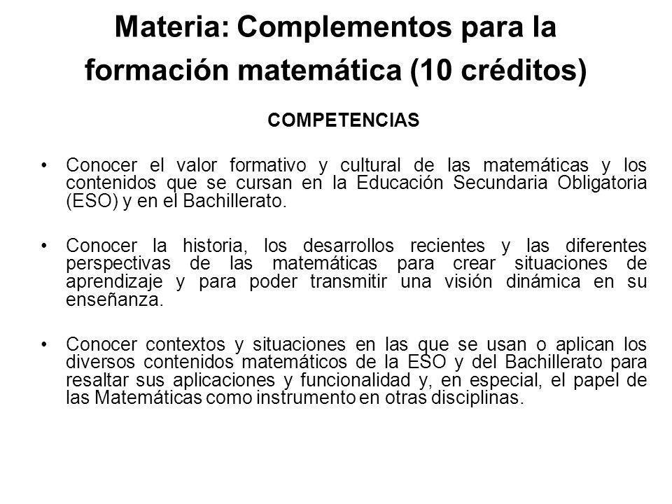 Materia: Complementos para la formación matemática (10 créditos)