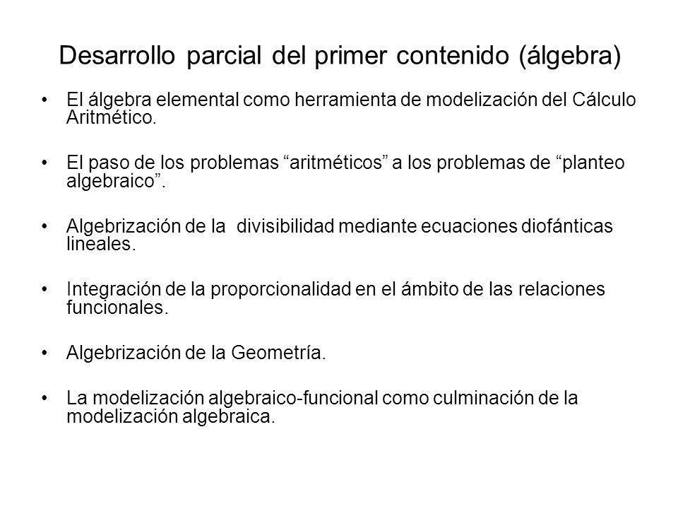 Desarrollo parcial del primer contenido (álgebra)