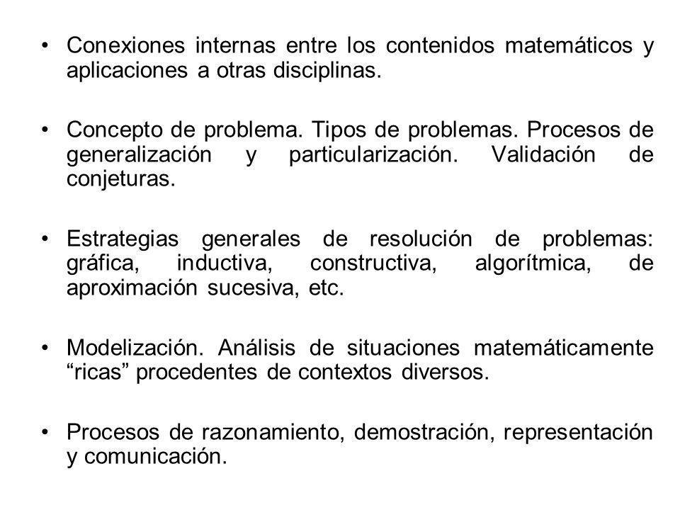Conexiones internas entre los contenidos matemáticos y aplicaciones a otras disciplinas.