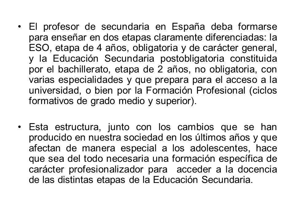El profesor de secundaria en España deba formarse para enseñar en dos etapas claramente diferenciadas: la ESO, etapa de 4 años, obligatoria y de carácter general, y la Educación Secundaria postobligatoria constituida por el bachillerato, etapa de 2 años, no obligatoria, con varias especialidades y que prepara para el acceso a la universidad, o bien por la Formación Profesional (ciclos formativos de grado medio y superior).