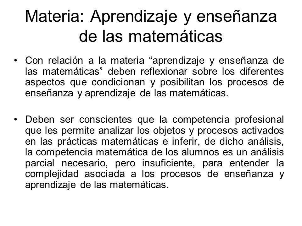 Materia: Aprendizaje y enseñanza de las matemáticas