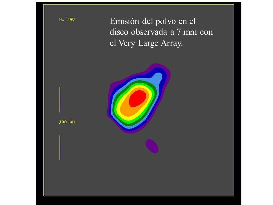 Emisión del polvo en el disco observada a 7 mm con el Very Large Array.