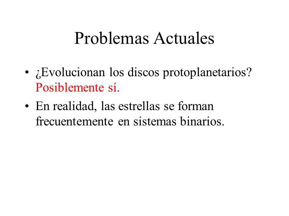 Problemas Actuales ¿Evolucionan los discos protoplanetarios Posiblemente sí.