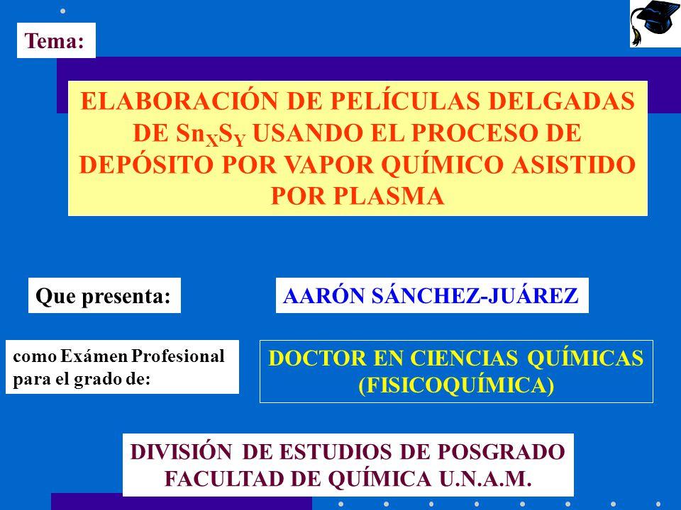 Tema: ELABORACIÓN DE PELÍCULAS DELGADAS DE SnXSY USANDO EL PROCESO DE DEPÓSITO POR VAPOR QUÍMICO ASISTIDO POR PLASMA.