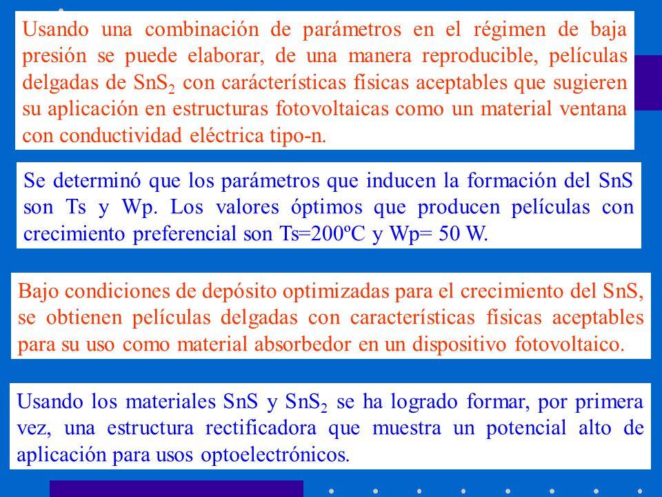Usando una combinación de parámetros en el régimen de baja presión se puede elaborar, de una manera reproducible, películas delgadas de SnS2 con carácterísticas físicas aceptables que sugieren su aplicación en estructuras fotovoltaicas como un material ventana con conductividad eléctrica tipo-n.