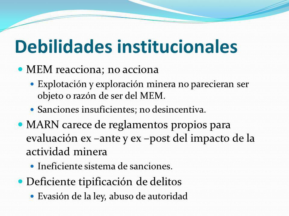 Debilidades institucionales
