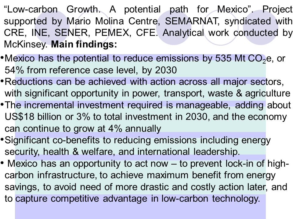 Low-carbon Growth. A potential path for Mexico