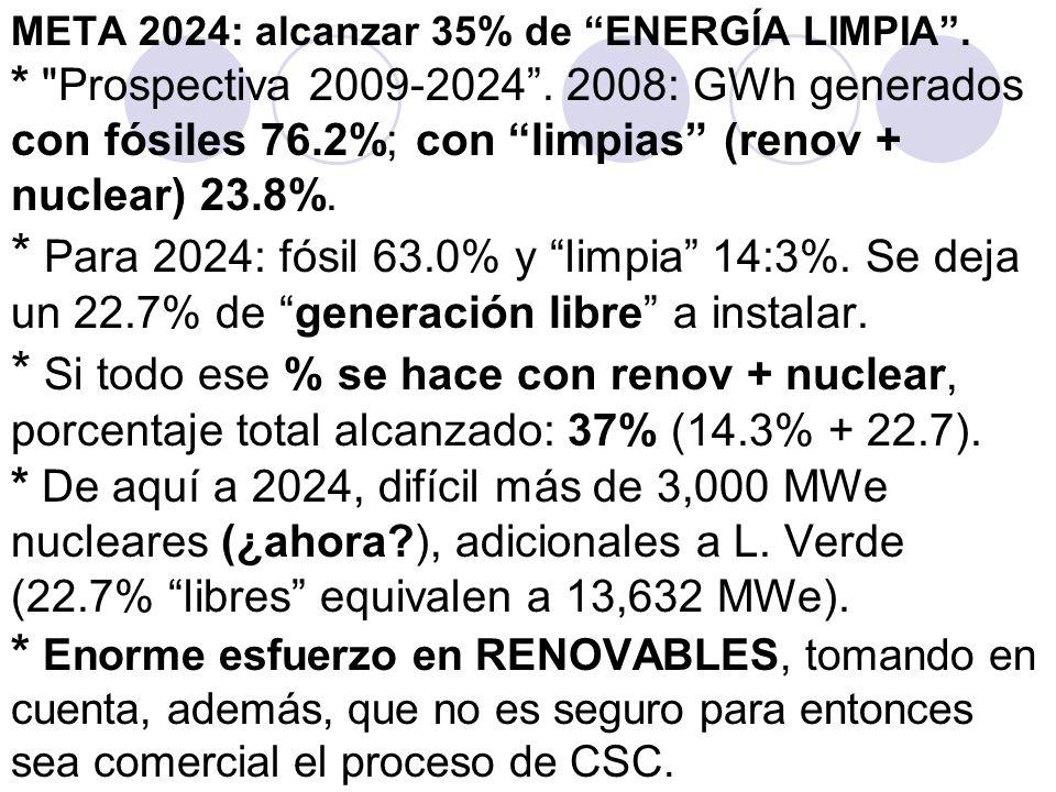 META 2024: alcanzar 35% de ENERGÍA LIMPIA . Prospectiva 2009-2024