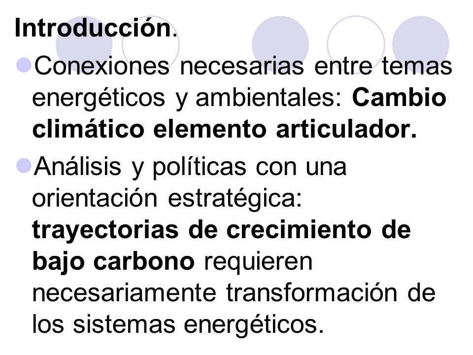 Introducción. Conexiones necesarias entre temas energéticos y ambientales: Cambio climático elemento articulador.