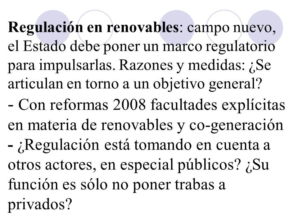 Regulación en renovables: campo nuevo, el Estado debe poner un marco regulatorio para impulsarlas.