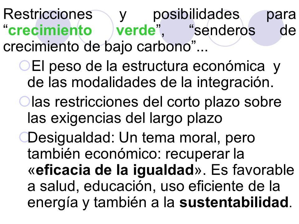Restricciones y posibilidades para crecimiento verde , senderos de crecimiento de bajo carbono ...