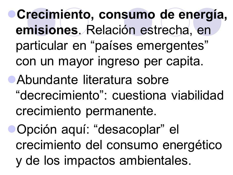 Crecimiento, consumo de energía, emisiones