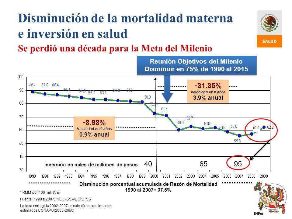 Disminución de la mortalidad materna e inversión en salud