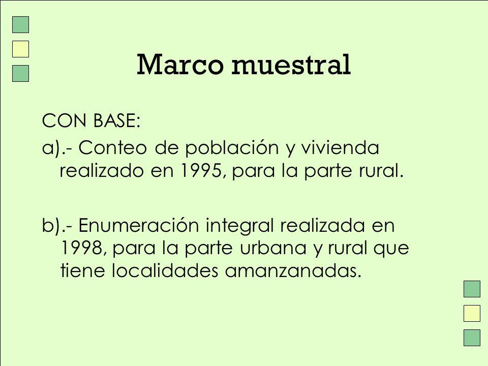 Marco muestral CON BASE: