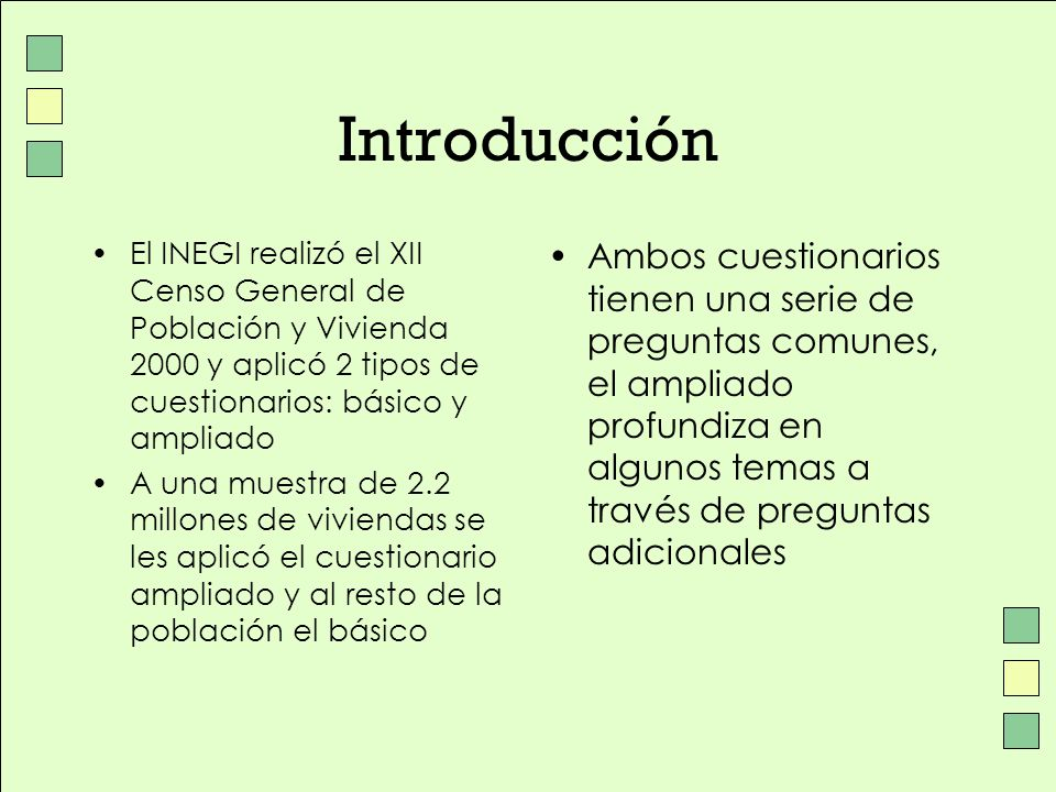 Introducción El INEGI realizó el XII Censo General de Población y Vivienda 2000 y aplicó 2 tipos de cuestionarios: básico y ampliado.