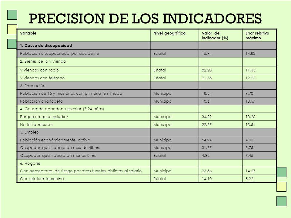 PRECISION DE LOS INDICADORES