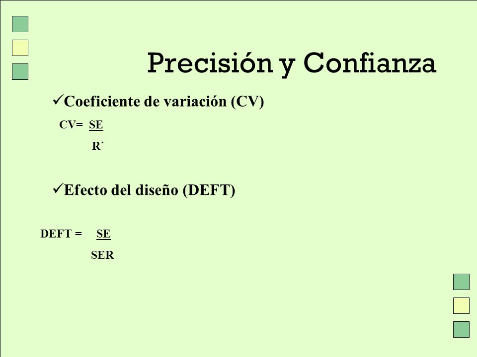 Precisión y Confianza Coeficiente de variación (CV)