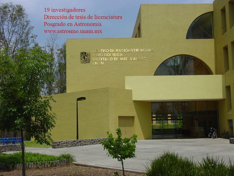 19 investigadores Dirección de tesis de licenciatura Posgrado en Astronomía www.astrosmo.unam.mx